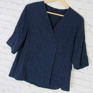 Cos Shirt Top Womens Size 4 Navy Textured Cupro